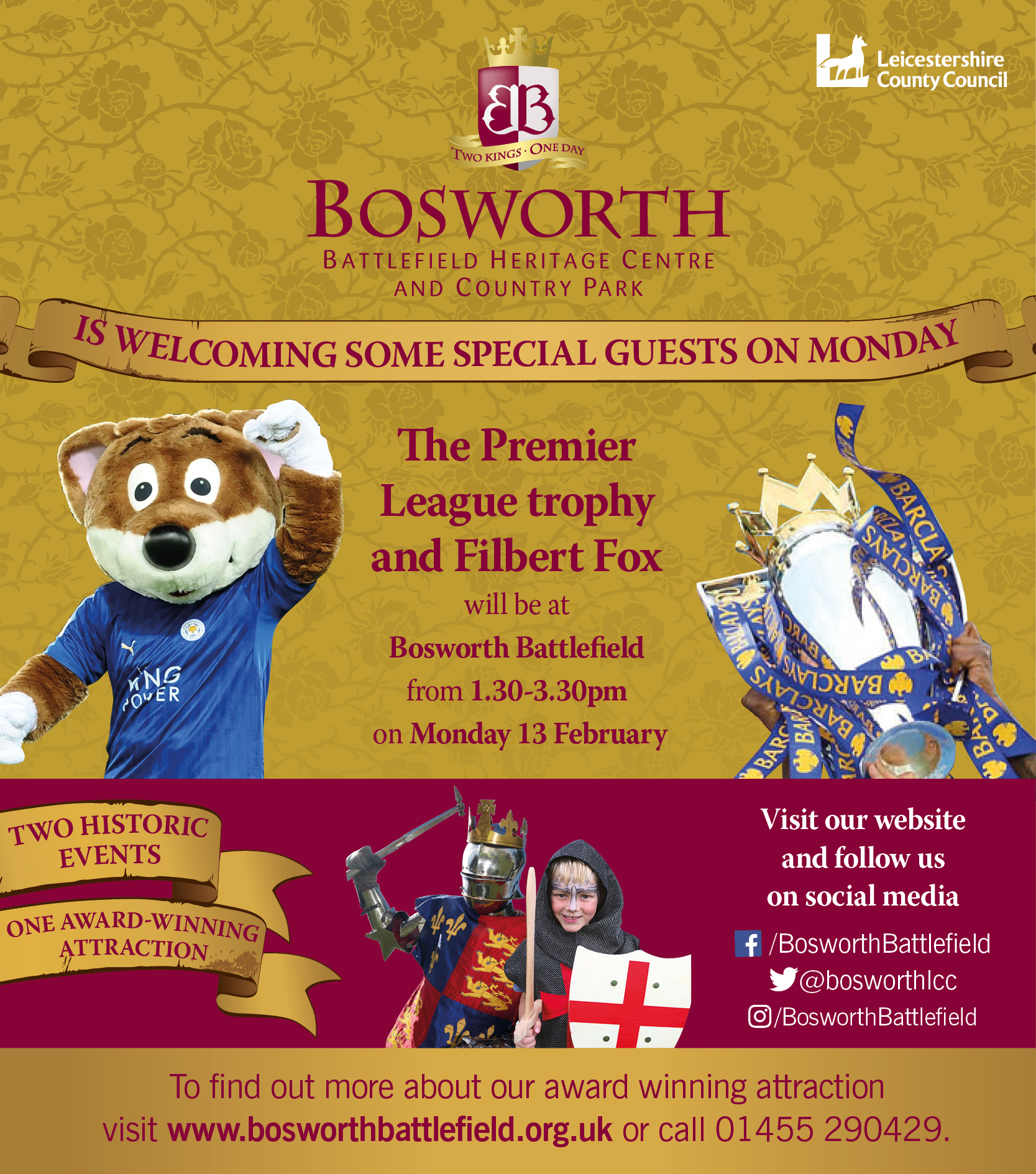 The Premier League Trophy & Filbert Fox at Bosworth Battlefield