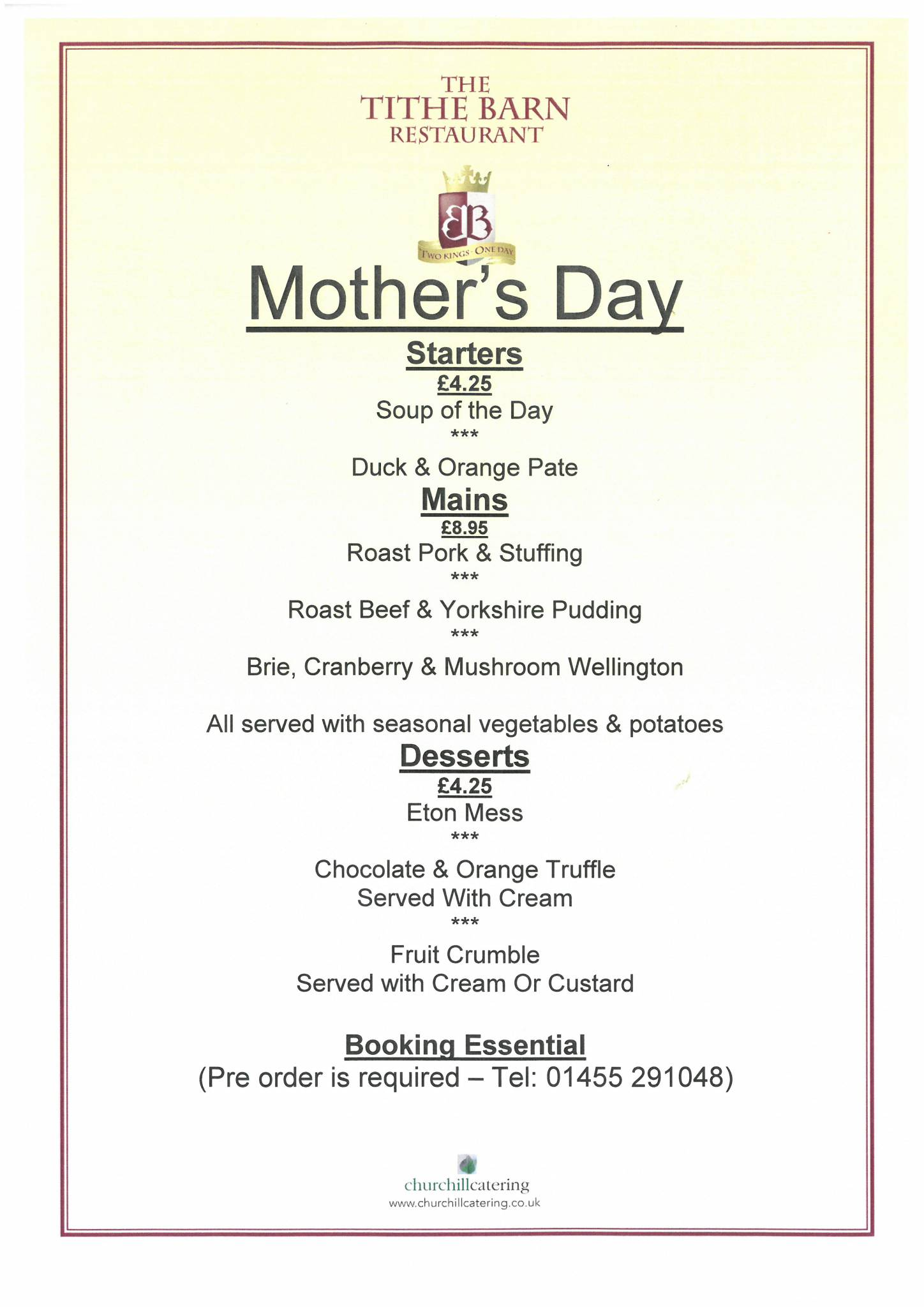 Mother's Day Menu in the Tithe Barn Cafe