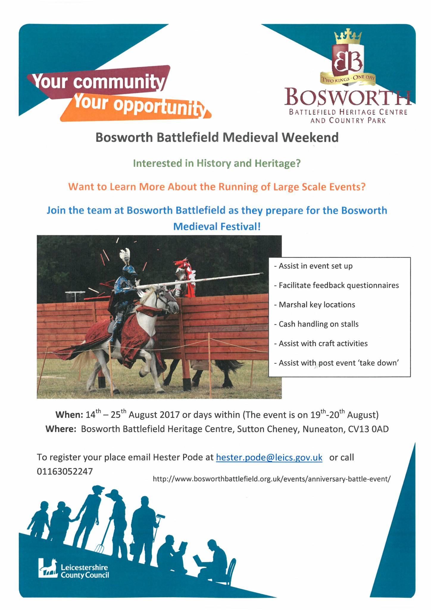 Bosworth Medieval Festival: Volunteer Recruitment Meeting