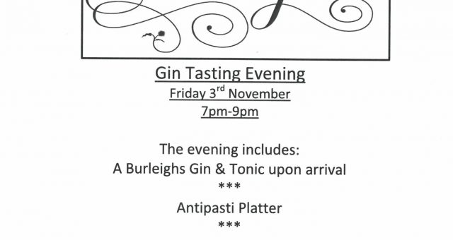 Burleighs Gin Tasting Evening in the Tithe Barn