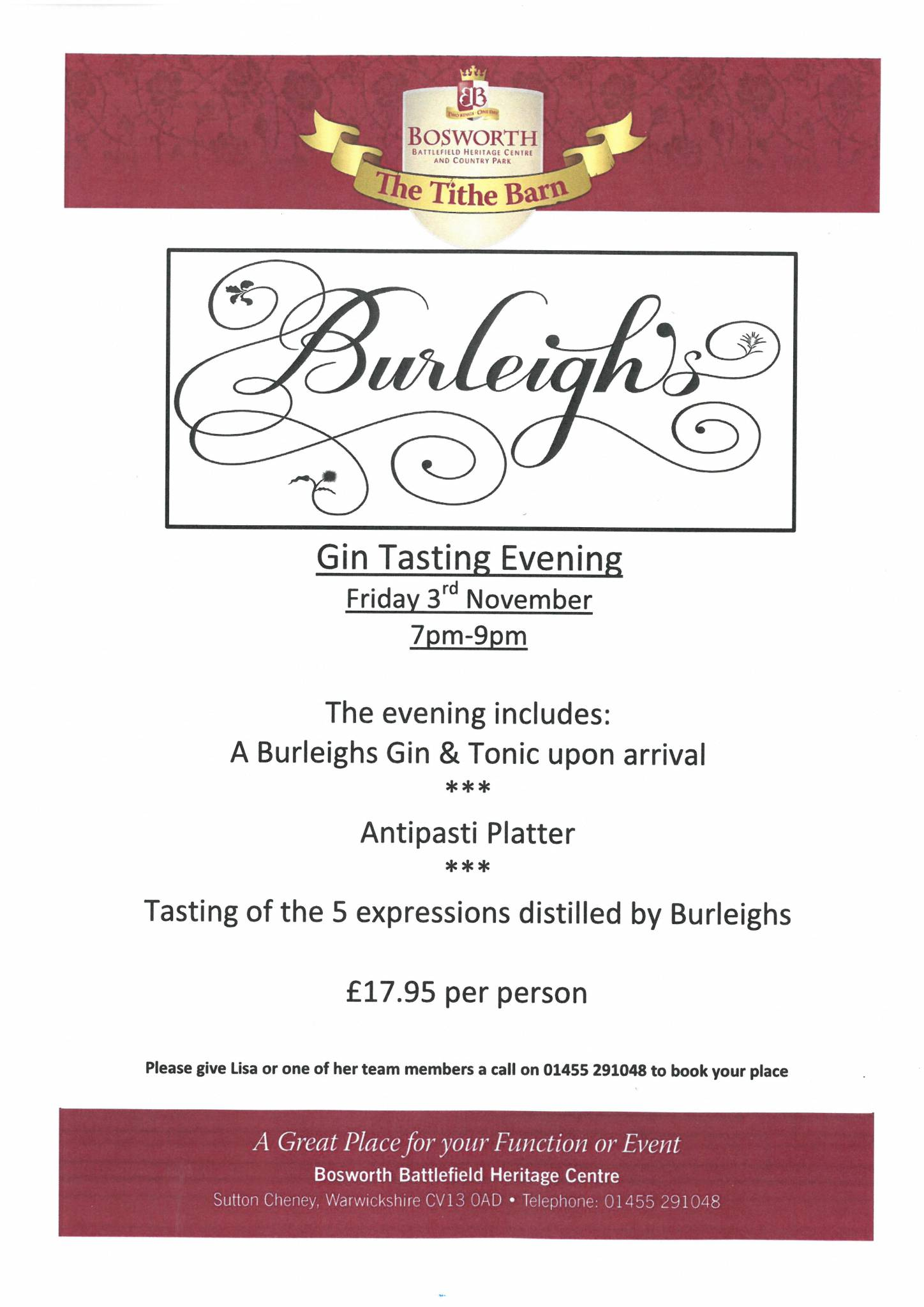 Burleighs Gin Tasting Evening in the Tithe Barn - CANCELLED