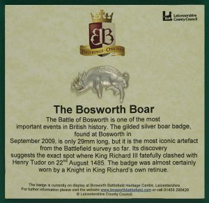 A silver copy of the Bosworth Boar badge available in the shop