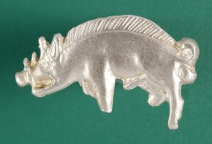 The replica Bosworth Boar badge in silver