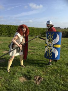 Our Boudicca faces up to our Roman Soldier